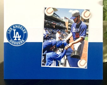 "Dodgers Baseball fan boy teen uncle brother gift fathers day mothers day handmade magnetic picture frame holds 5"" x 7"" photo 9"" x 11"" size"