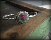 Sterling Silver Ruby in Ziosite Stacking Cuff