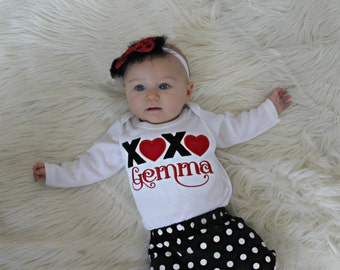 Personalized Valentines Day Baby Girl Outfit baby cloths xoxo Newborn Girl Take Home Outfit Bodysuit options for complete outfit Baby Gift