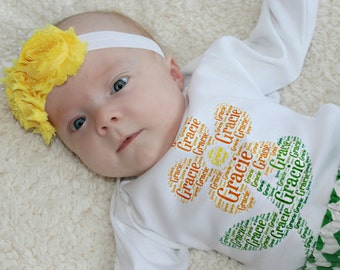 Baby Clothes Girl Baby Girl Gift Newborn Girl Take Home Outfit Girl Baby Shower Gift Bodysuit Diaper Cover Headband opt Personalized Girl