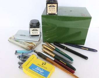 Mid Century Office Desk Supplies Lot Fountain Pens, Ink Bottles, Ink Stamp Pads for Display, Parts, Repairs