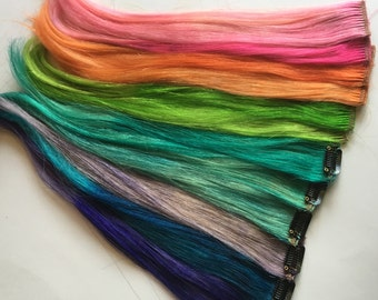 Clip in Hair Extensions Streaks Human Hair Blue Green Red Purple PInk Orange YOU CHOOSE 16 inch length