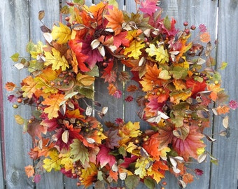 Fall Wreath, Fall Berry Wreath, Fall Leaf Wreath, Autumn Cotton Hull Wreath, Natural Full Wreath, Fall Leaves and Berries, Horn's Handmade