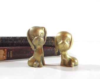 Vintage Brass Dog Figurines / Mid Century Decor