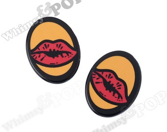 Oval Cameo Comic POP Art Inspired Red Lips Acrylic Flatback Rhinestone Cabochons, Kiss Lips Cabochons, Lips Cabochon, 22mm x 28mm (R9-080)