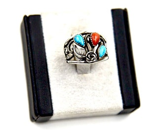 Southwest Turquoise & Coral Openwork Cast Band Ring VM Size 8