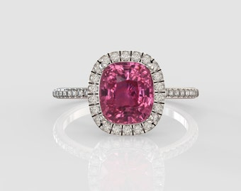 Untreated , pink sapphire engagement ring , Free Shipping , gift for her , girlfriend gift , wedding ring , SKU-joan2551