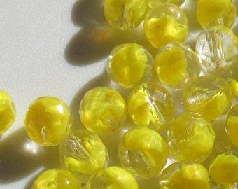 Vintage Lemon Givre Crystal Beads 10mm QTY - 8