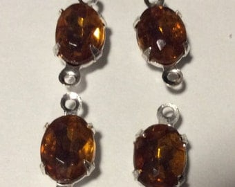 Vintage Topaz Rhinestones 8x6mm Oval prong set Sterling plated 14x7mm Double Connectors Drops Charms QTY- 4 Only Lot