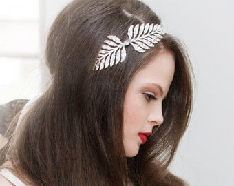Silver Leaf Tiara, Greek Goddess, Grecian Headband, Silver Leaf Headpiece, Frond Leaf, Laurel Leaf, Greek Goddess Crown, Silver Ox OPHELIA