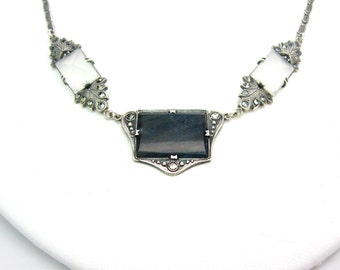 Art Deco Necklace. Rock Crystal & Sodalite Gemstones. Sterling Silver, Marcasites, Paperclip Chain. Germany, Vintage 1920s Jewelry