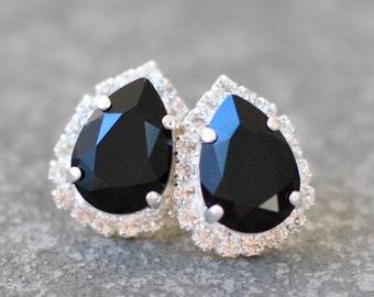 Black Crystal Earrings Swarovski Crystal Black Noir Victorian Studs Diamond Rhinestone Pear Stud Duchess Pear Halo Earrings Mashugana