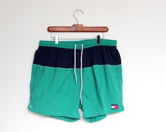 Vintage Tommy Hilfiger Striped Swimming Trunks Mens Extra Large XL 1990s 90s Bathing Suit Waist Multi Color Block Green Blue