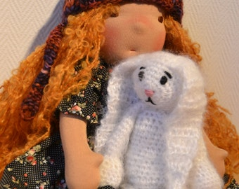 Waldorf Doll - Sophie, Waldorf inspired doll, Steiner doll, cloth doll,organic waldorf doll and her friend  Soft Rabbit