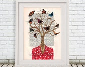 Digital Tree Print Mixed Media Illustration Print Art Poster Acrylic Painting Holiday Decor Drawing Illustration Gift For Her:  Mrs. Tree