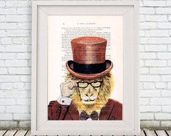 Lion Artwork, Lion Print, Dandy Print, vintage lion, lion illustration, whymsical lion: Dandy Lion