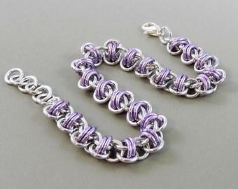 Light Purple Chainmaille Bracelet, Barrel Weave Chainmail Bracelet, Chain Mail Jewelry, Lavender Bracelet