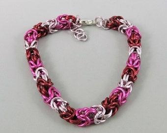 Byzantine Bracelet, Chainmail Bracelet Pink Red Chainmaille Bracelet, Valentine's Day Bracelet, Chain Mail Jewelry
