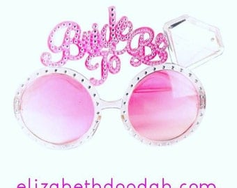 Pink Bride To Be Party Glasses Sunglasses with Diamond Engagement Ring for Bachlorette Bridal Shower or Engagement Party