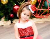 Ready to Ship   Santa Baby   Sienna   red sparkly fur lace crown headband   photography prop   keepsake box option
