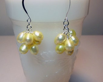 Yellow Cultured Pearl Cluster Earrings, Short, Valentines Mothers Day Spring Birthday Bridesmaid Mom Sister Girlfriend Jewelry Gift