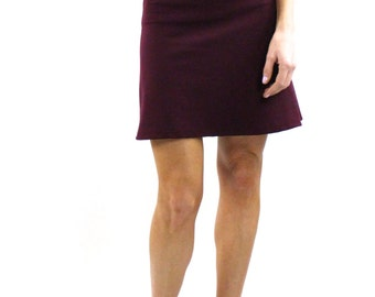 Mini Skirt Solid burgandy French Terry Fabric pull on A Line Biker business clothing casual Skirts Rose Temple