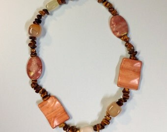 Sunset Stone Necklace Agate Jasper and Tiger Eye
