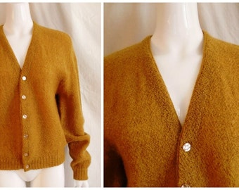 Vintage 1960's Man's Mohair Sweater Cardigan Camel Hipster Grandpa Sweater