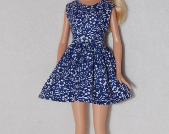 "Barbie doll dress Navy/White A4B064  11.5"" fashion doll clothes"