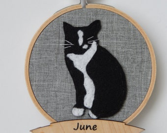 """4"""" Tuxedo Cat Embroidery Hoop Ornament"""
