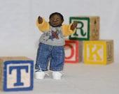 Dollhouse Doll - 1/12 Scale Miniature Toddler Boy - Black/African American - Handmade OOAK Polymer Clay - Posable - Ezra Robert