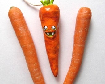 Polymer Clay Carrot Ornament  - The Biting Carrot - Clay Carrot Figurine - Orange Carrot Ornament - Vegetable Decor - Carrot Sculpture