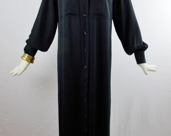 Vintage YVES SAINT LAURENT Deadstock with Tags Maxi Silk Hostess Shirt Dress Size 40 Very Cool