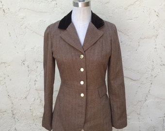 VTG Pamela Brandt houndstooth tweed women Riding Blazer Sz 8 6 jacket retro country style