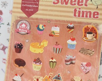 Sweet Time Delicious cakes and coffee Sticker (1 sheet)