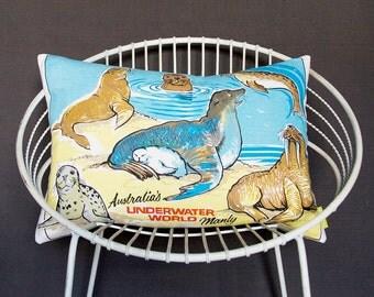 SALE Kids cushion cover Seal Walrus Sealife Underwater World Australia large pillow sham Nautical Kitsch Retro upcycled tea towel ECO animal