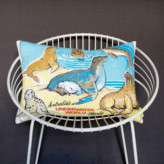 Kids cushion cover Seal Walrus Sealife Underwater World Australia large pillow sham Nautical Kitsch Retro upcycled tea towel ECO animal pic