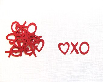 Valentine Party Decor, Heart XO Confetti, Weddings, Showers, Red, Love, Set of 100