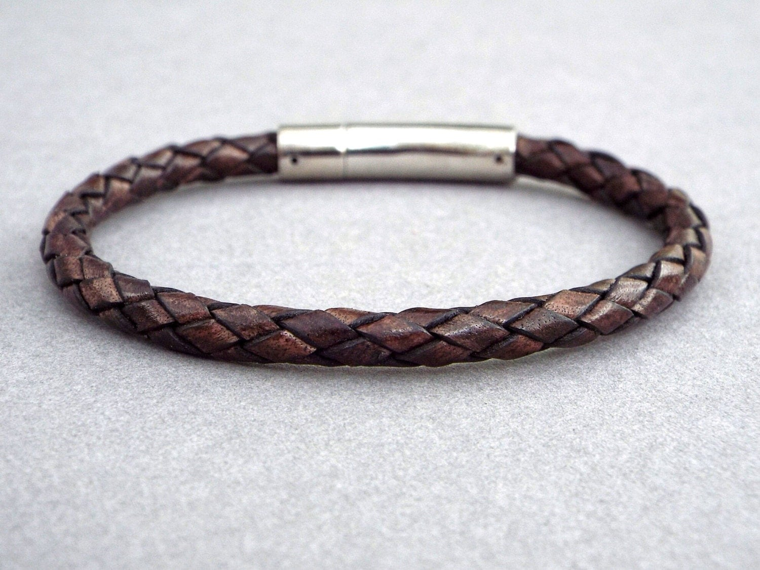 mens leather bracelet anniversary gift for him by happylaika