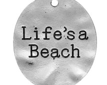 """5 Stamped Silver LIFE'S A Beach Metal Oval Charm Pendants, 30mm x 26mm, approx 1"""", chs2406"""