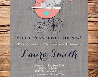 Coral Elephant Baby Shower Invitation, Turquoise, Baby Shower Elephant Invite, BOY, Girl, Gray, elephant baby shower boy, linen, 1586
