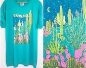Palm Desert T Shirt / Southwest 90s Printed Tee / Cactus Moon Aztec / Tribal / Gold Teal Pink / Crew Neck Short Sleeve / Soft Vintage Tee