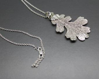 Sterling Silver Lacey Oak Leaf Necklace
