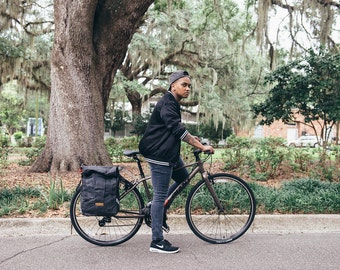 Convertible backpack pannier, waxed canvas bicycle bag -- black