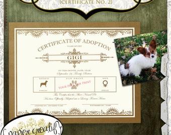 Pet Adoption Certificate No. 2 Vintage Design