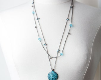Sand Dollar Beach Necklace,  Blue, Beach Necklace, Multi strand Necklace,
