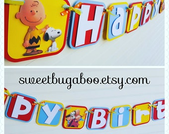 Peanuts, Charlie Brown Happy Birthday Banner. Peanuts Birthday. Charlie Brown Birthday. Peanuts Birthday Decorations. Charlie Brown party