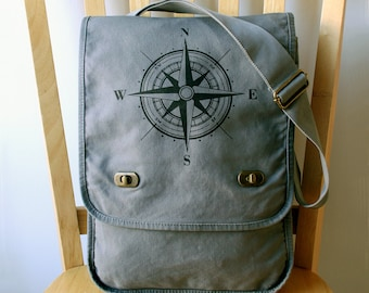 Nautical Compass Rose Canvas Messenger Bag Laptop Bag