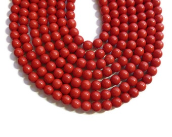 Cherry Red Howlite - 8mm Round Bead - Full Strand - 52 beads - scarlet crimson - synthetic turquoise - candy apple red