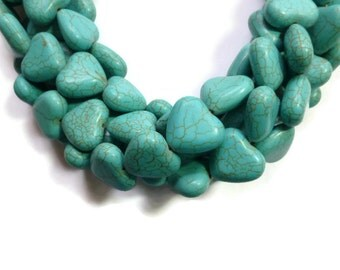 Blue Turquoise Howlite - Large Heart Bead - 19mm x 17mm x 8mm - Full Strand - 25 beads - Sky Aqua